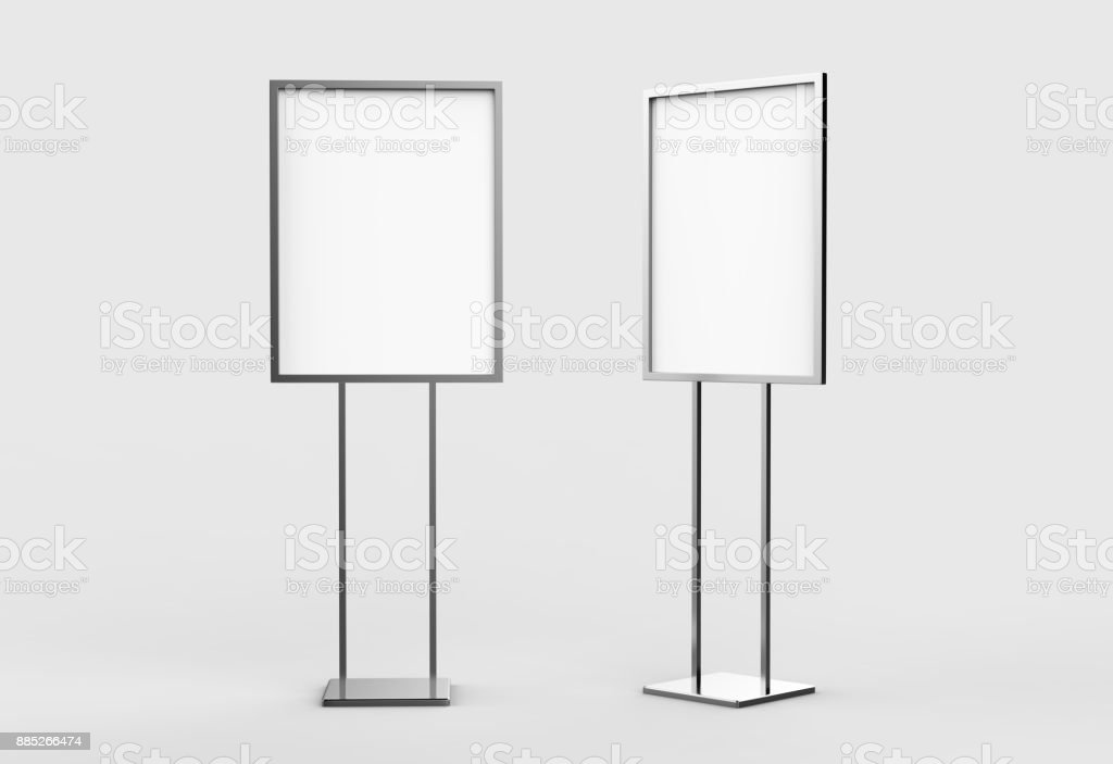 Indoor Pedestal Steel Sign Stand poster banner advertisement Display, Lobby Menu Board. Blank white 3d rendering. stock photo