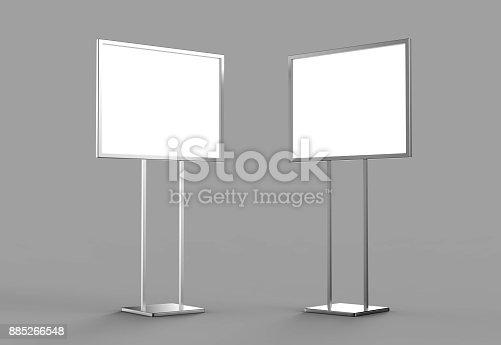838254520 istock photo Indoor Pedestal Steel Sign Stand poster banner advertisement Display, Lobby Menu Board. Blank white 3d rendering. 885266548