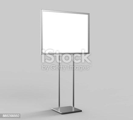 838254520 istock photo Indoor Pedestal Steel Sign Stand poster banner advertisement Display, Lobby Menu Board. Blank white 3d rendering. 885266552