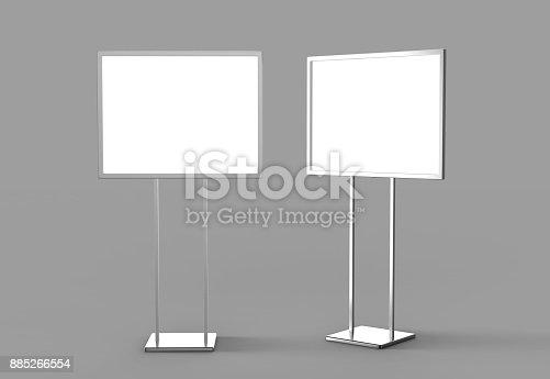 838254520 istock photo Indoor Pedestal Steel Sign Stand poster banner advertisement Display, Lobby Menu Board. Blank white 3d rendering. 885266554