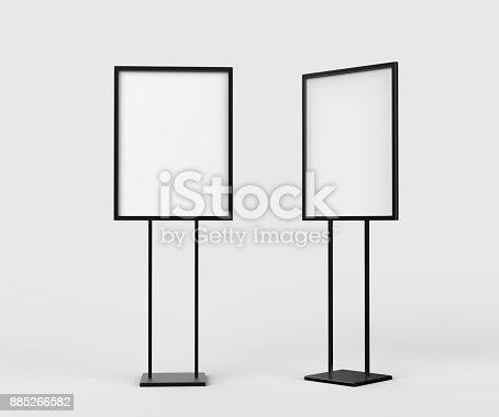 838254520 istock photo Indoor Pedestal Steel Sign Stand poster banner advertisement Display, Lobby Menu Board. Blank white 3d rendering. 885266582
