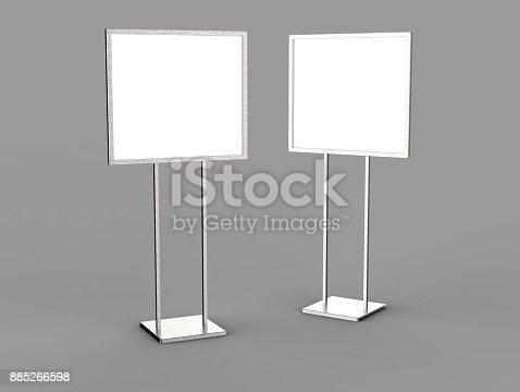 838254520 istock photo Indoor Pedestal Steel Sign Stand poster banner advertisement Display, Lobby Menu Board. Blank white 3d rendering. 885266598