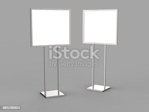 838254520 istock photo Indoor Pedestal Steel Sign Stand poster banner advertisement Display, Lobby Menu Board. Blank white 3d rendering. 885266604