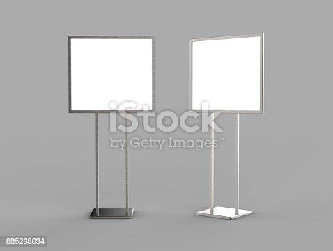 838254520 istock photo Indoor Pedestal Steel Sign Stand poster banner advertisement Display, Lobby Menu Board. Blank white 3d rendering. 885268634