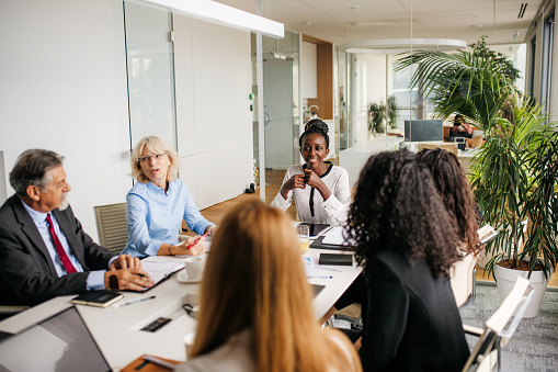 Indoor photo of multi ethnic business people having a strategy meeting in the board room. Colleagues are discussing different fields. Horizontal photo with copy space. Bright atmosphere in a modern office space with lots of grenery.