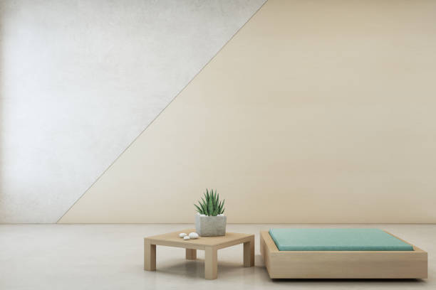 indoor-anlage am couchtisch aus holz und minimal möbel mit leeren betonwand hintergrund, lounge im wohnzimmer des modernen hauses - meditationsräume stock-fotos und bilder