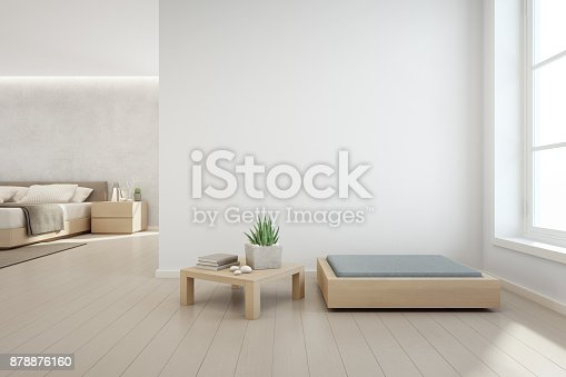 924294300 istock photo Indoor plant on wooden coffee table and modern furniture with empty white concrete wall background, Bedroom near living room in scandinavian house 878876160