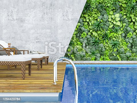 Indoor Poolside with Green Plants Covered Wall. 3d Render