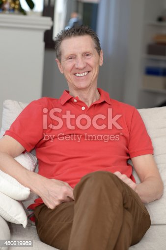 istock Indoor Portrait Of Happy Senior Man 480619989