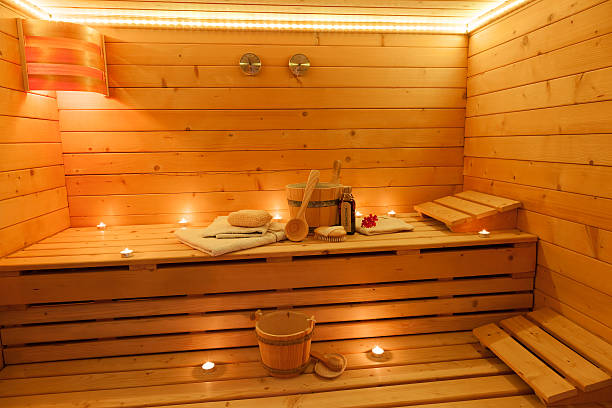Sauna Interior Interior of a finnish Sauna sauna stock pictures, royalty-free photos & images