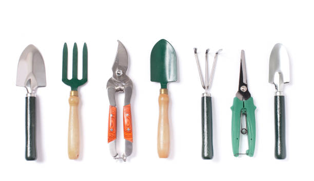 indoor set of gardening tools isolated - tools zdjęcia i obrazy z banku zdjęć