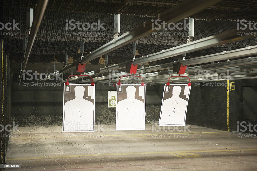 indoor shooting range stock photo