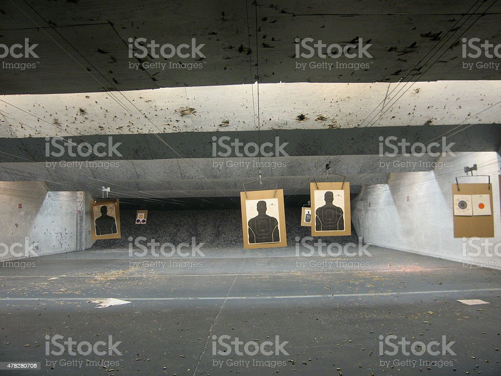 Indoor Shooting Range Targets stock photo
