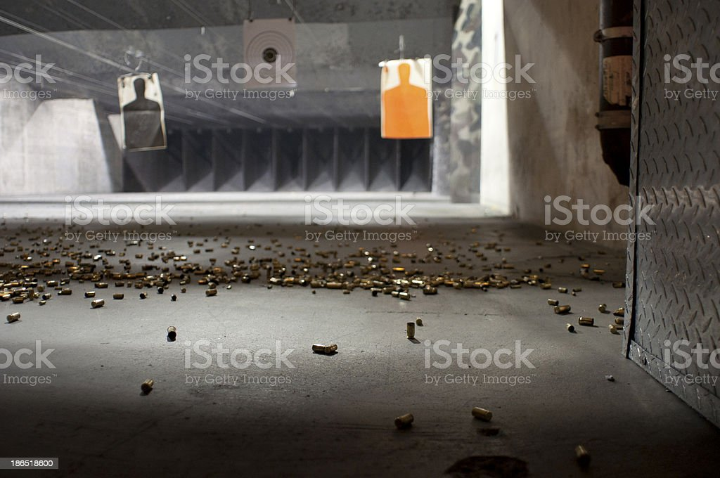 Indoor shooting range with targets stock photo