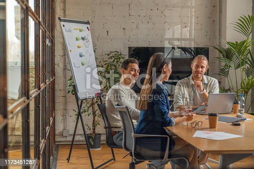660311448 istock photo Indoor shot of creative team discussing ideas in business meeting. Multi ethnic business people working together on new project in office. 1173451287