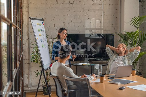 660311448 istock photo Indoor shot of creative team discussing ideas in business meeting. Multi ethnic business people working together on new project in office. 1173451495