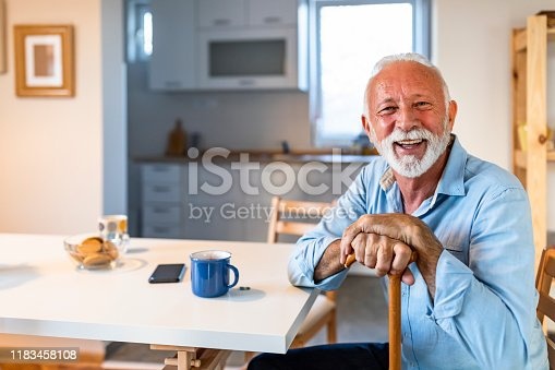 Portrait of happy senior man sitting at home with walking stock and smiling.Portrait of nice cheerful positive cheery stylish old man wearing checked shirt leaning on cane in white light modern interior studio room new house