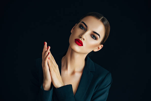 indoor shot of young beautiful woman - glamour stock photos and pictures