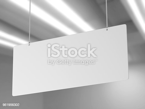 istock Indoor Single Sided Wall Mounted Display Acrylic Poster Frame for advertising. 3d render illustration. 951956302