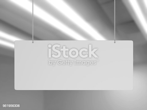 istock Indoor Single Sided Wall Mounted Display Acrylic Poster Frame for advertising. 3d render illustration. 951956306
