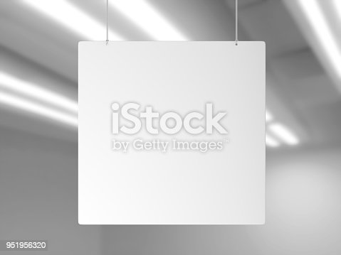 istock Indoor Single Sided Wall Mounted Display Acrylic Poster Frame for advertising. 3d render illustration. 951956320