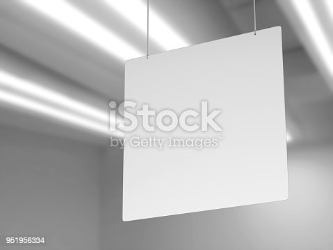 istock Indoor Single Sided Wall Mounted Display Acrylic Poster Frame for advertising. 3d render illustration. 951956334