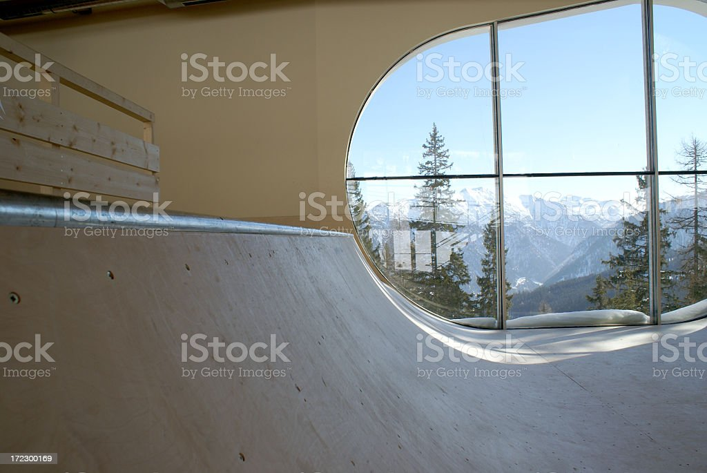 Indoor Skateboard Ramp royalty-free stock photo