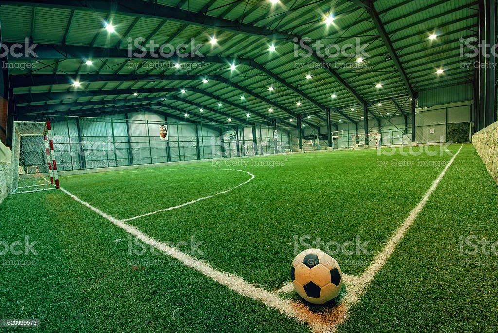 indoor Soccer football field stock photo