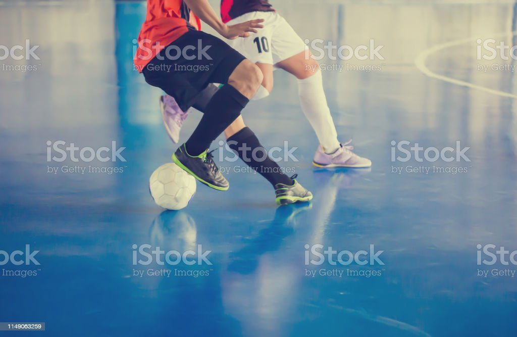 Indoor soccer sports hall. Football futsal player, ball, futsal...