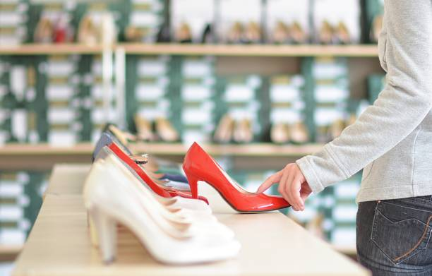 indoor store with ladies shoes stock photo
