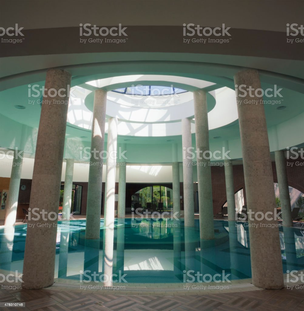 indoor swimming pool, architecture of building exterior stock photo