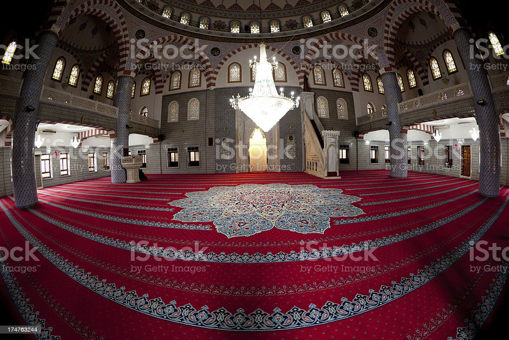 Indoor view of Halilullah Mosque, Sanliurfa stock photo