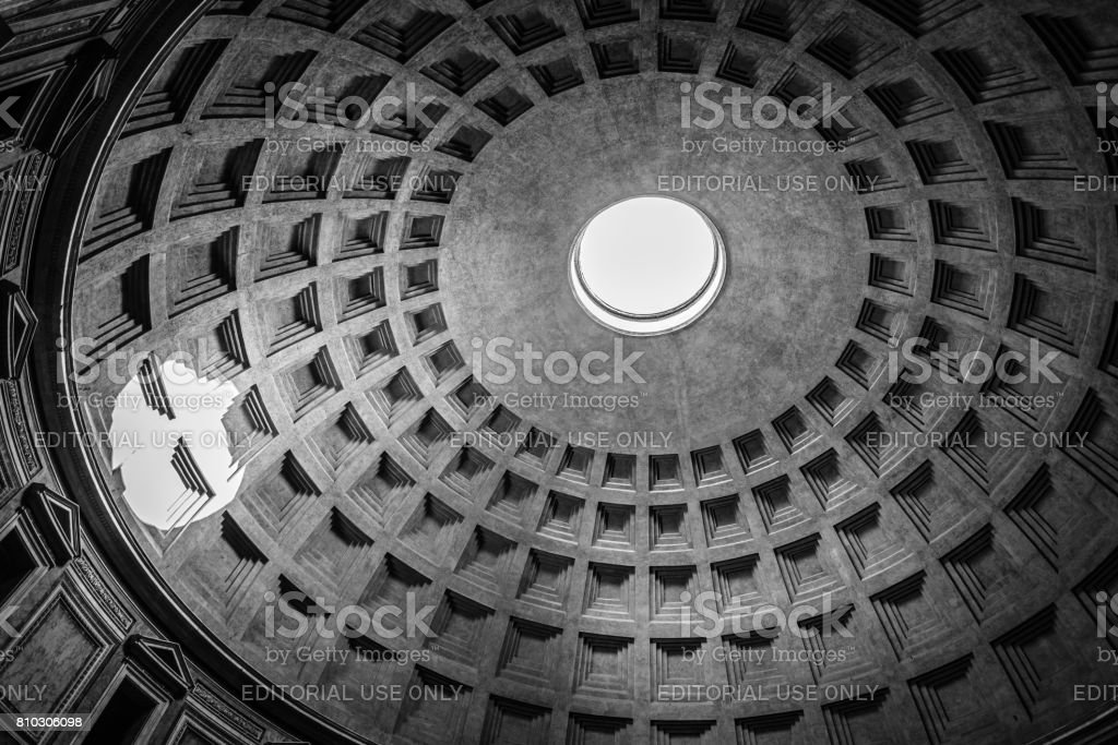 Indoor view of Pantheon of Agripa in Rome stock photo