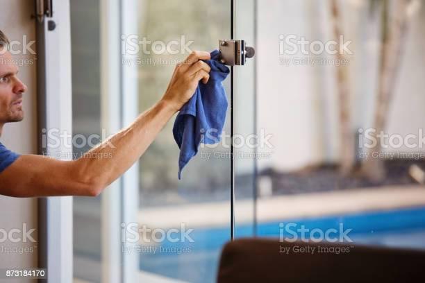Indoor Window Cleaning Stock Photo - Download Image Now