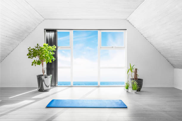 Indoor yoga scene with a blue mat in a bright room Indoor yoga scene with a blue mat in a bright room with an ocean view and a couple of green plants yoga studio stock pictures, royalty-free photos & images