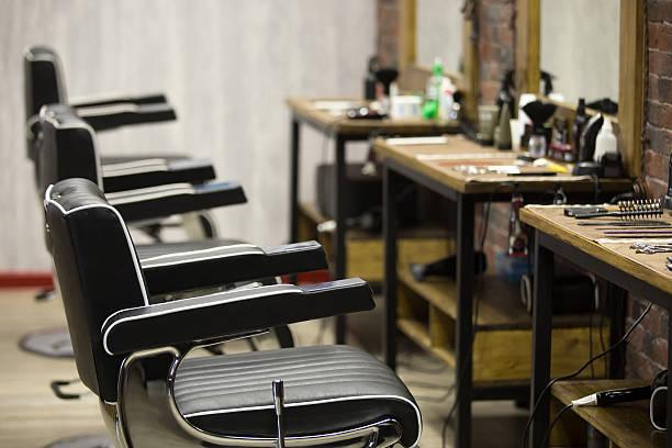 indoors image of barbershop - 美容院 ストックフォトと画像