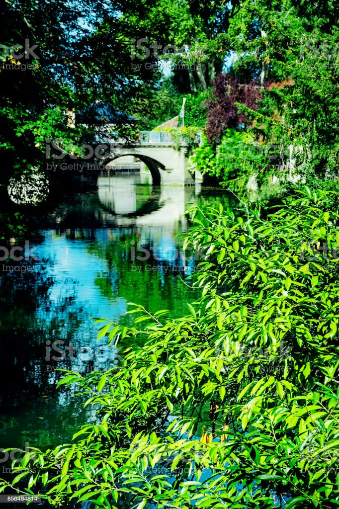 Indre River at Azay Le Rideau, France stock photo