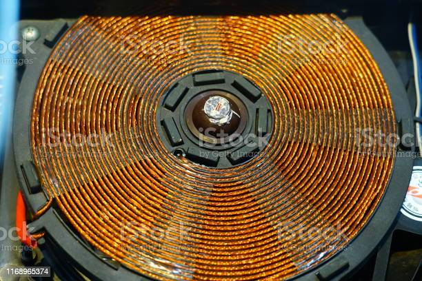 Photo of Induction heater copper coil close-up