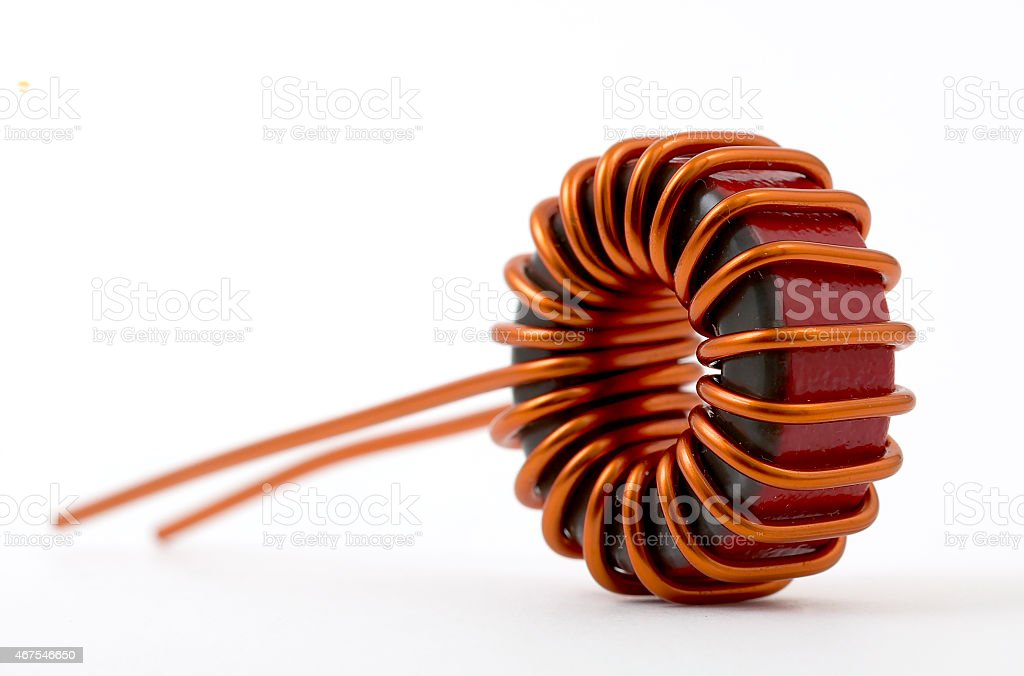 Inductive component, copper wire coil, toroid stock photo