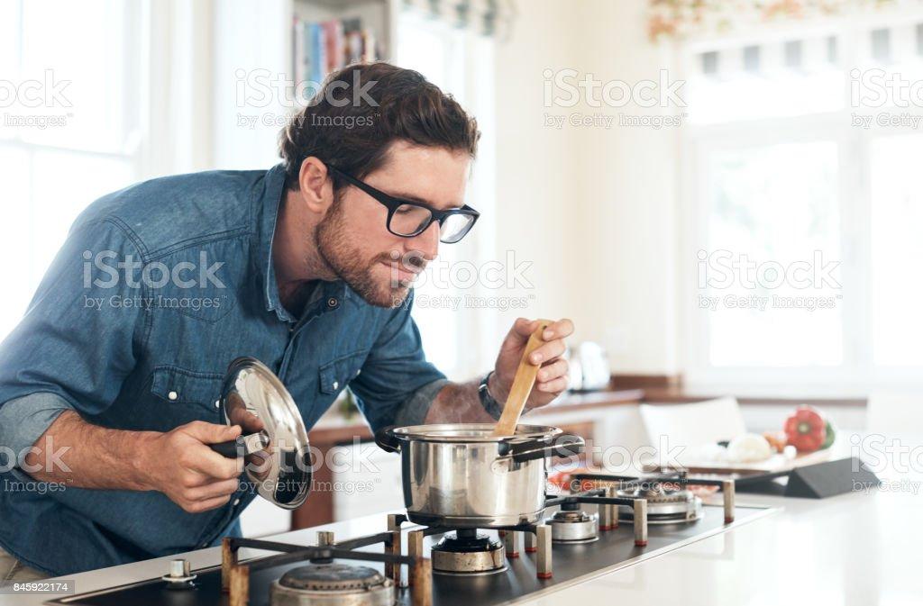 Indulging his inner chef stock photo