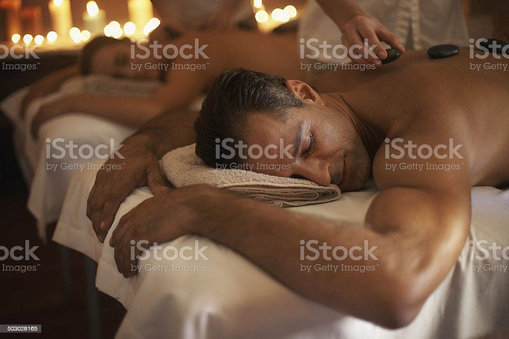 Indulging in a tranquil treatment stock photo