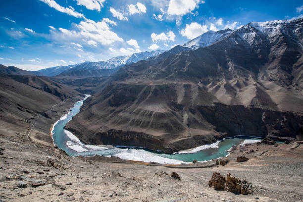Indus River in Ladakh, Nothern India stock photo