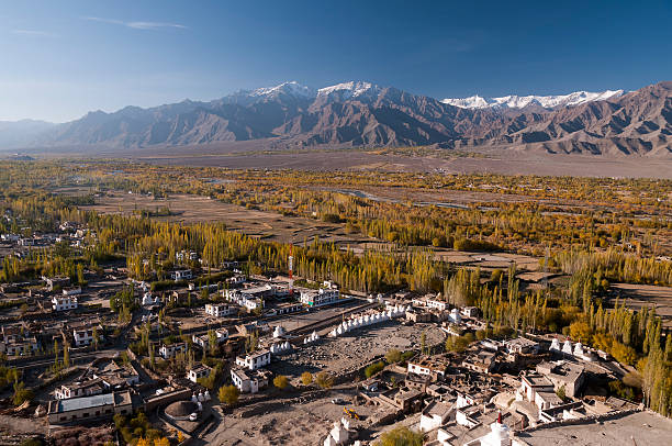 indus valley around tiksey, ladakh, india - mahroch stock pictures, royalty-free photos & images