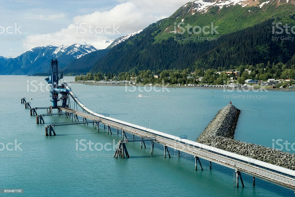 Industiral Pipe at the port of Seward delivering oil stock photo