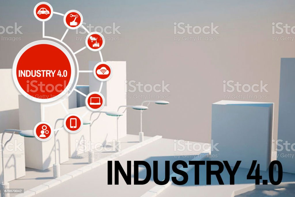 Industrial 3D city model stock photo