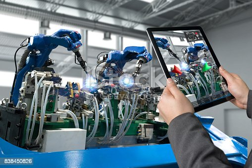 istock Industrial 4.0 , Augmented reality concept. Hand holding tablet with AR service , maintenance application and calling technician for check destroy part of smart machine in smart factory background 838450826