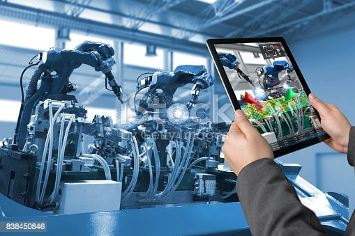 istock Industrial 4.0 , Augmented reality concept. Hand holding tablet with AR service , maintenance application and calling technician for check destroy part of smart machine in smart factory background 838450846