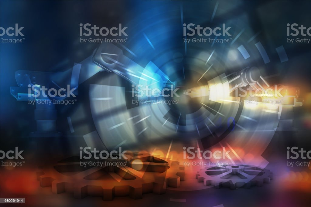 Industrial 4.0 Cyber Physical Systems concept , Gears , automation robot with abstract background stock photo