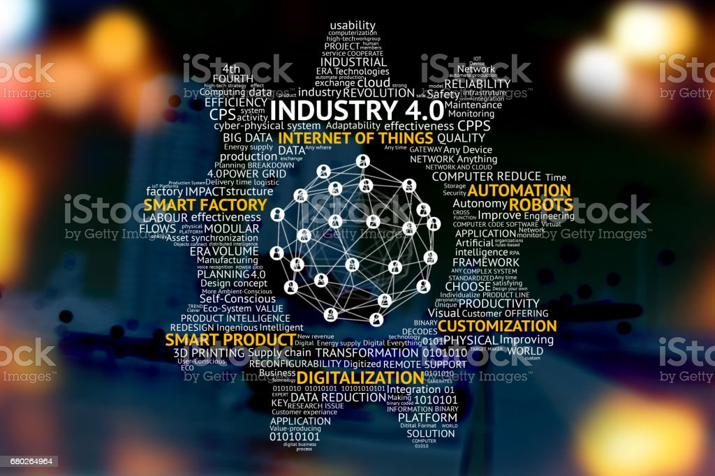 Industrial 40 Cyber Physical Systems Concept Gears Internet Of Things Network Smart Factory Solution Manufacturing Technology Automation Robot Text With Abstract Binary Bokeh Background Stock Photo Download Image Now Istock
