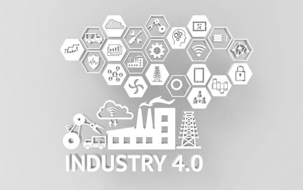 industrial 4.0 cyber physical systems concept , icon of industry 4.0 ,internet of things network,smart factory solution,manufacturing technology,automation robot with gray background , 3d illustration - computer aided manufacturing stock photos and pictures